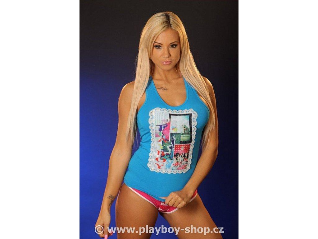 Tílko s s flitry, krajkou a nápisem Playboy
