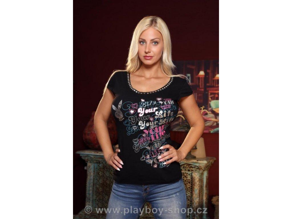 Tričko Playboy černé s nápisy Your Life