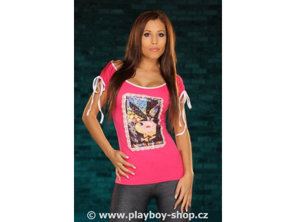 Tričko Playboy s flitry vyšitým zajíčkem