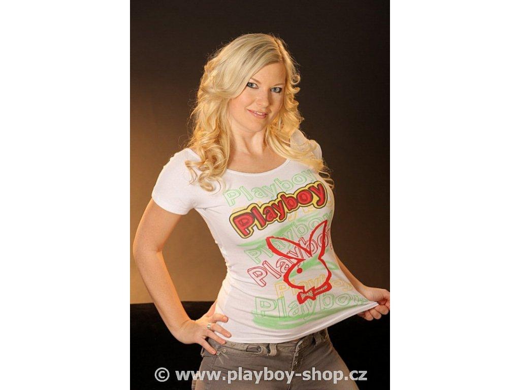 Tričko s barevnými nápisy Playboy