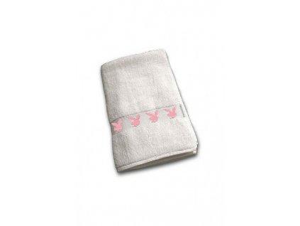 Bílý ručník s růžovými zajíčky 50 x 100cm