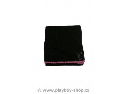 Černá šála s růžovým zajíčkem
