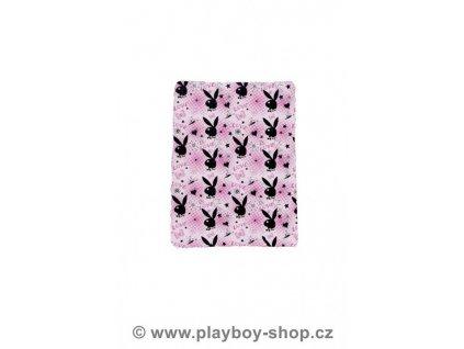 Černorůžová  fleece deka LOVE se zajíčky