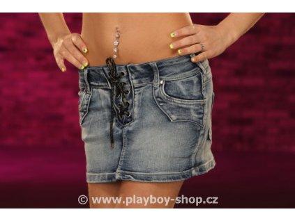 Jeans sukně s koženým šněrováním