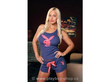 Modré pyžamo Playboy s krajkovými zády