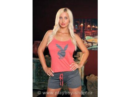 Oranžovo-šedé pyžamo Playboy s kraťásky