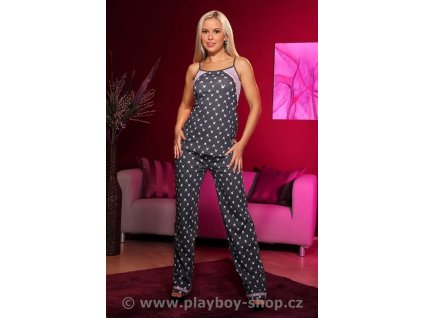 Šedé Pyžamo Playboy tílko a kalhoty