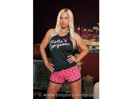 Šedo-růžové pyžamo Playboy Hello gorgeous