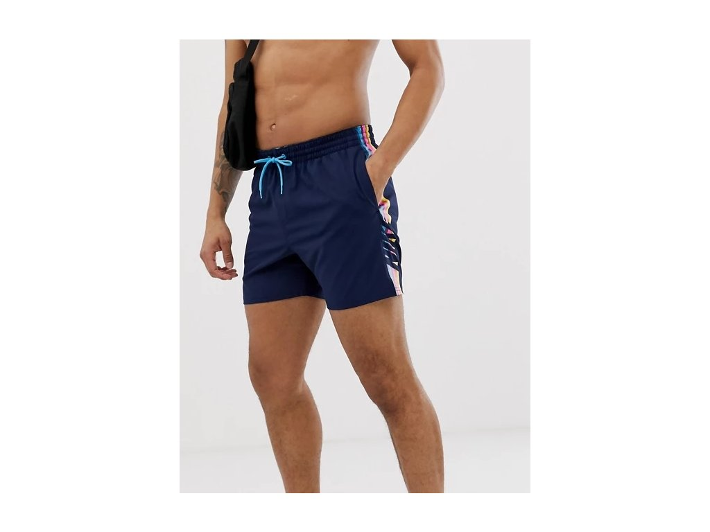 Nike super short swim shorts with retro stripe in navy NESS9445-489