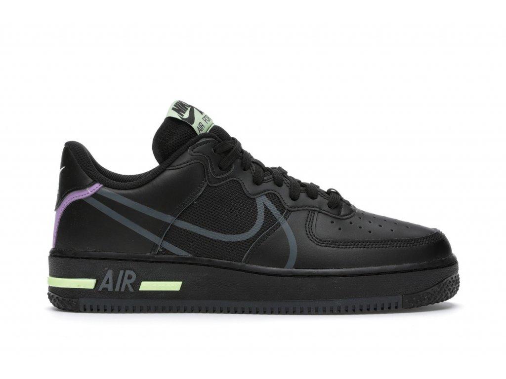 Nike Air Force 1 React Black Violet Star Barely Volt