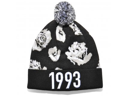 k1x rose bommel beanie black white 1