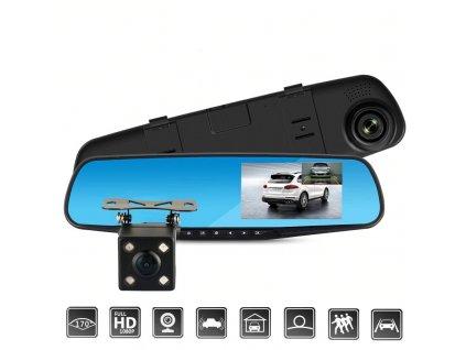 Autokamera a zrcátko 2v1 FHD DVR 1080P/4.3'/Couvací kamera