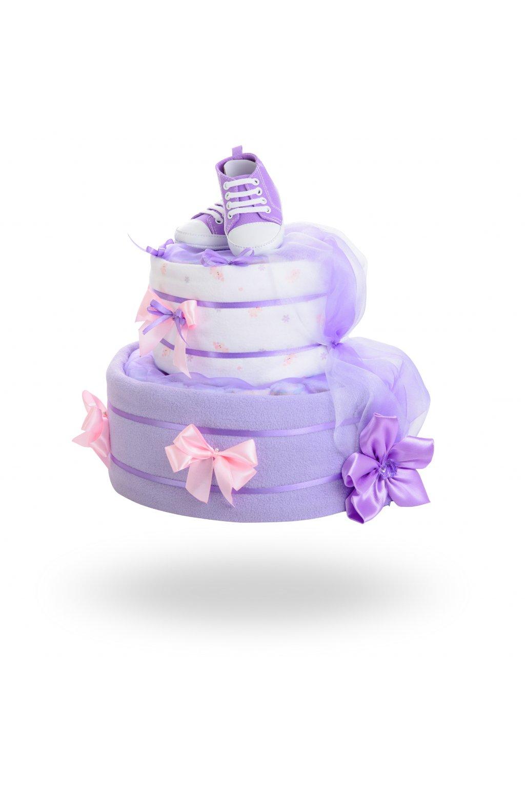 Dvoupatrový plenkový dort pro dívky – fialový1
