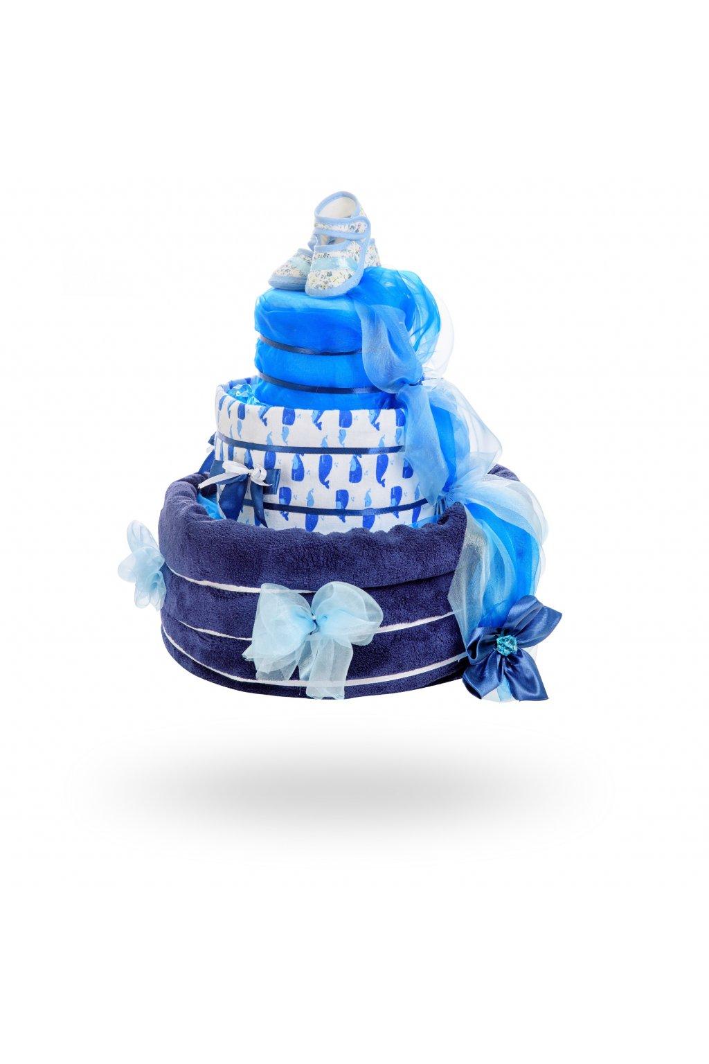 Třípatrový plenkový dort pro chlapce – tmavě modrá1