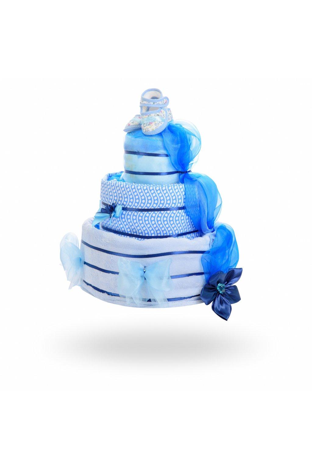 Třípatrový plenkový dort pro chlapce – světle modrá1