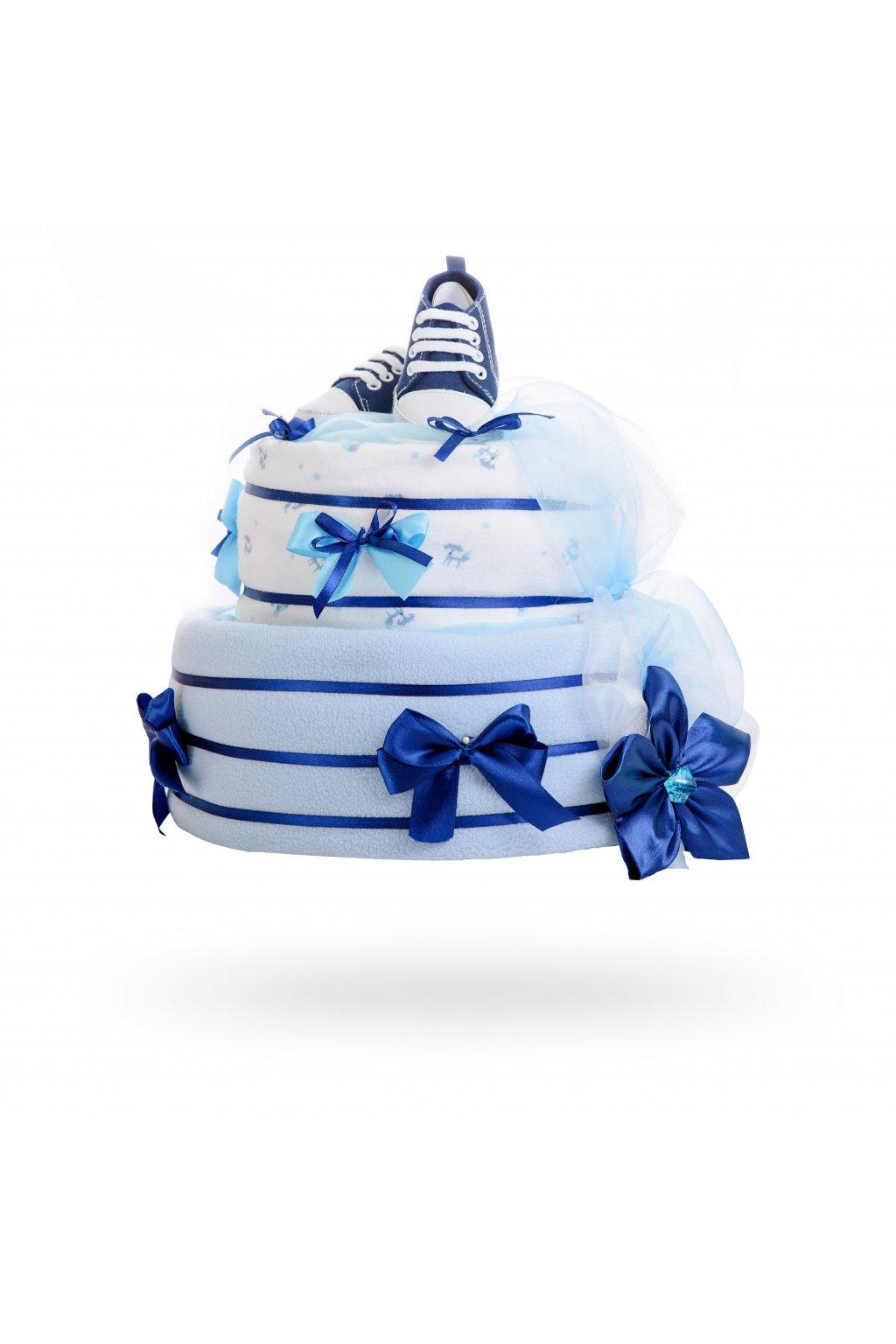 Dvoupatrový plenkový dort pro chlapce – světle modrý