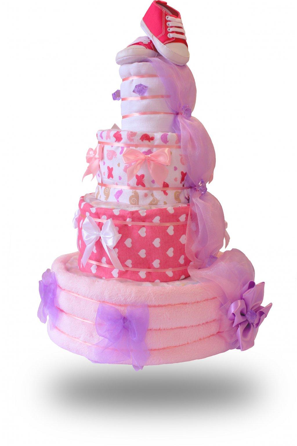 Čtyřpatrový plenkový dort pro dívky růžový