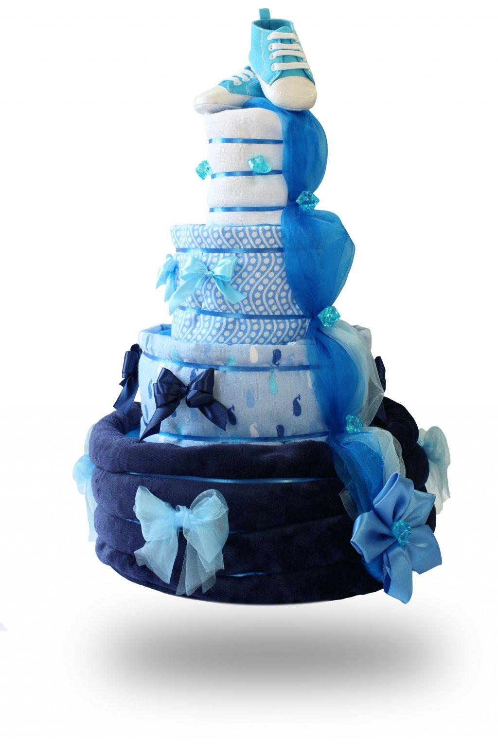Čtyřpatrový plenkový dort pro chlapce modrý