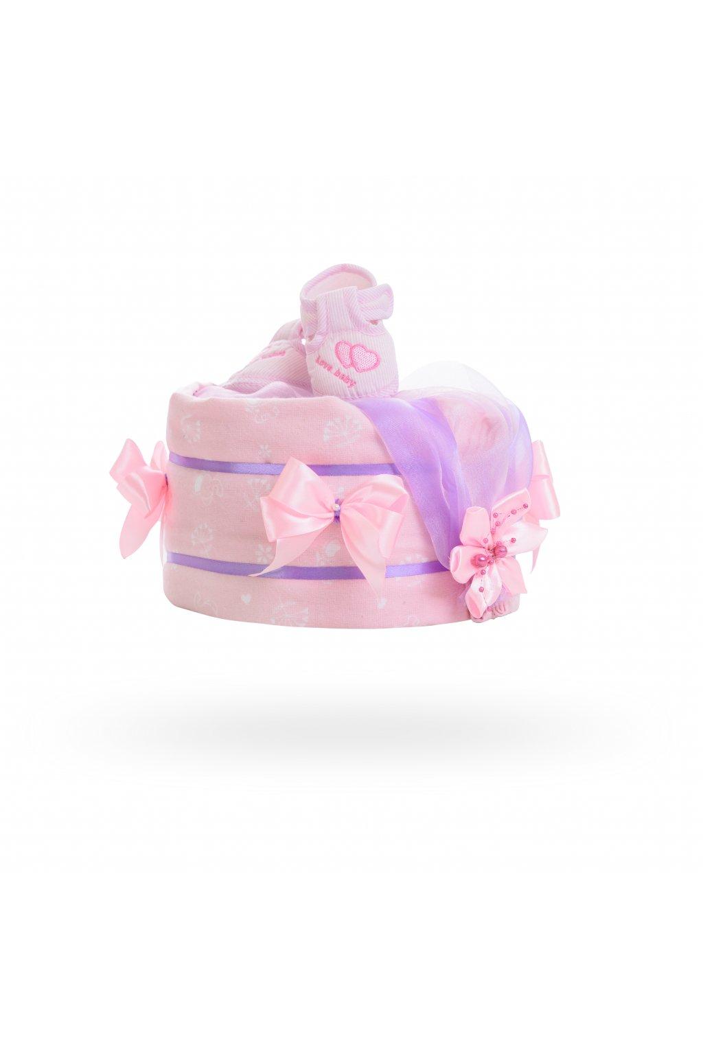Jednopatrový plenkový dort pro dívky - růžovo fialkový