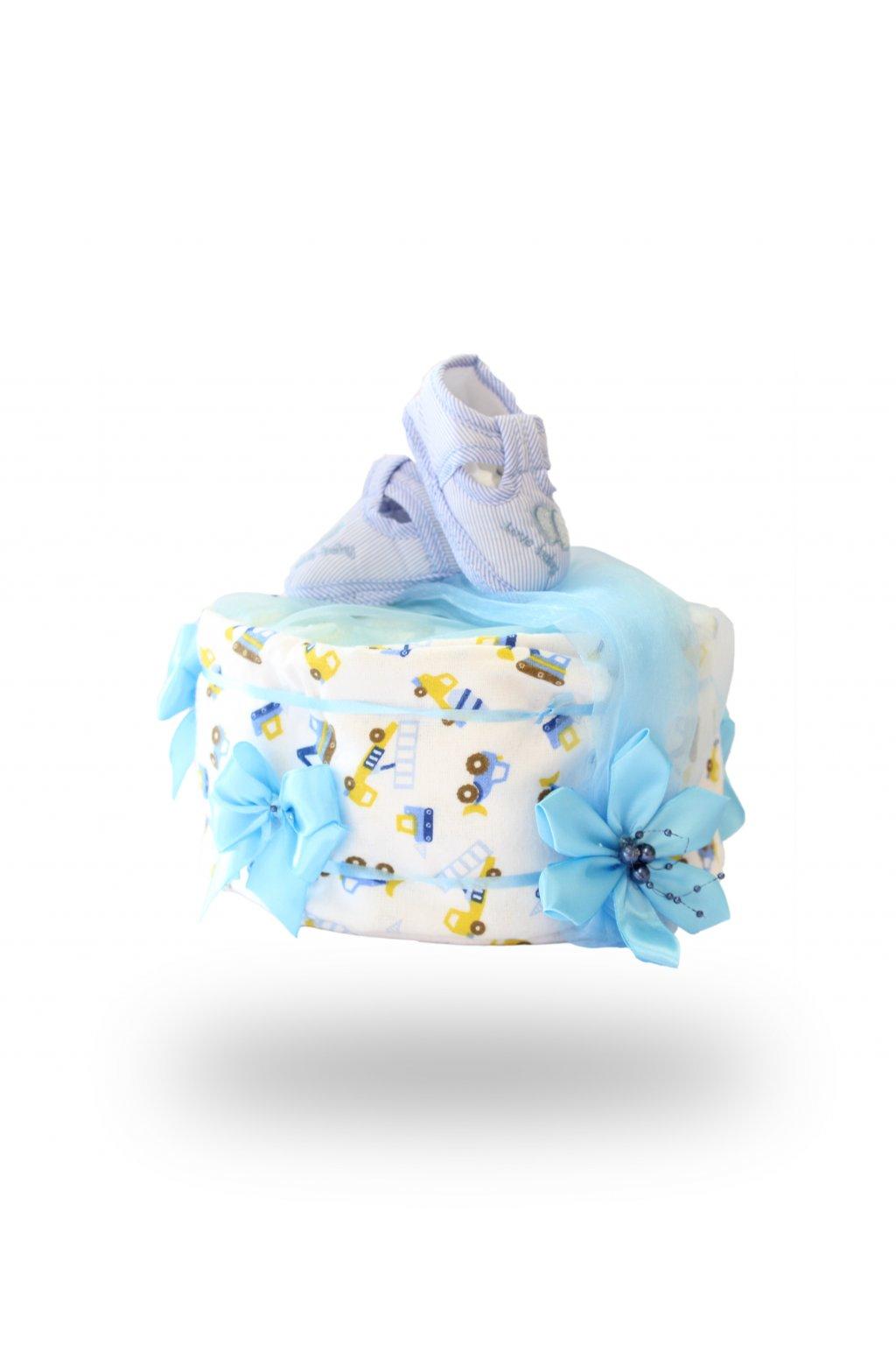 Jednopatrový plenkový dort pro kluky světle modrý