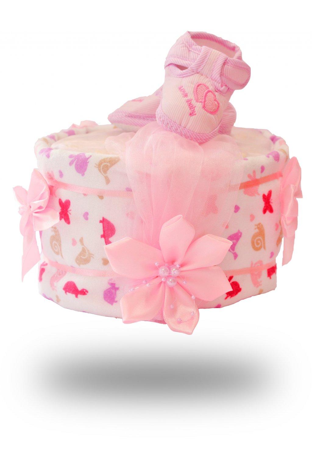 Jednopatrový plenkový dort pro dívky bílo růžový