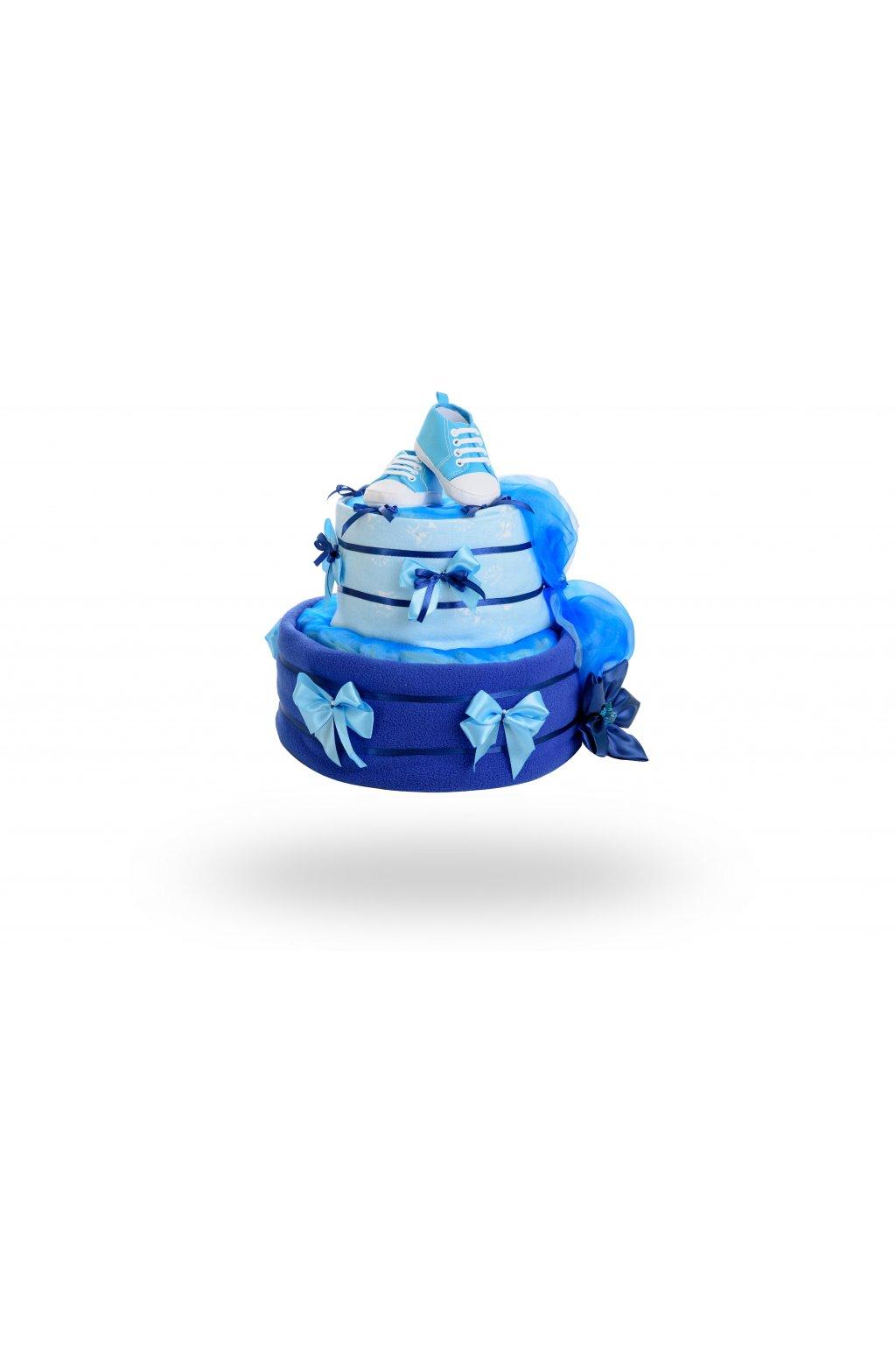 Dvoupatrový plenkový dort pro chlapce – tmavě modrý