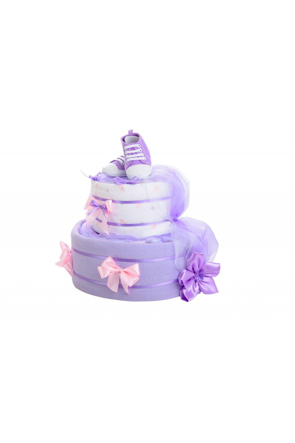 Dvoupatrový plenkový dort pro dívky – fialový