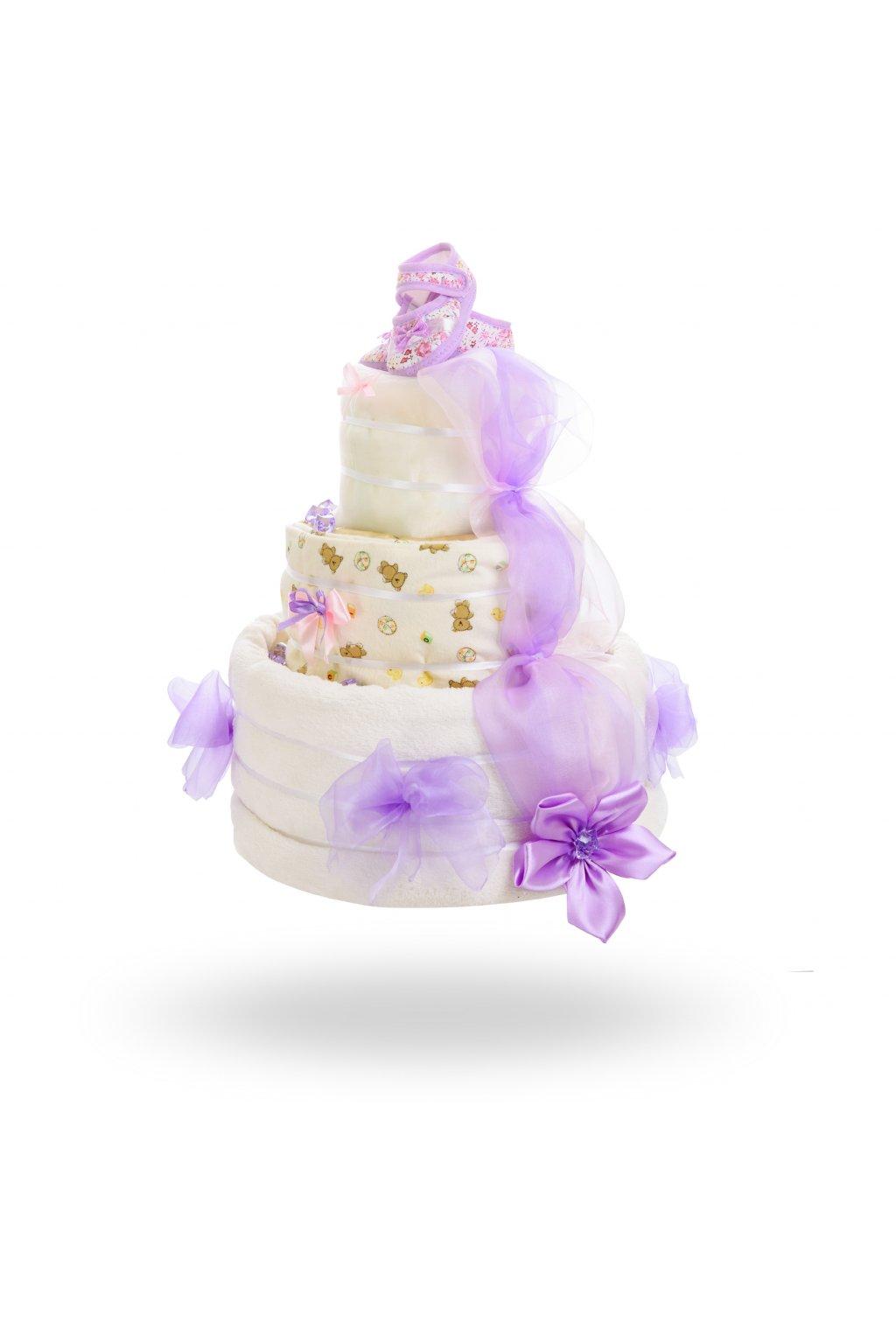 Třípatrový plenkový dort pro dívky – žluto fialkový1