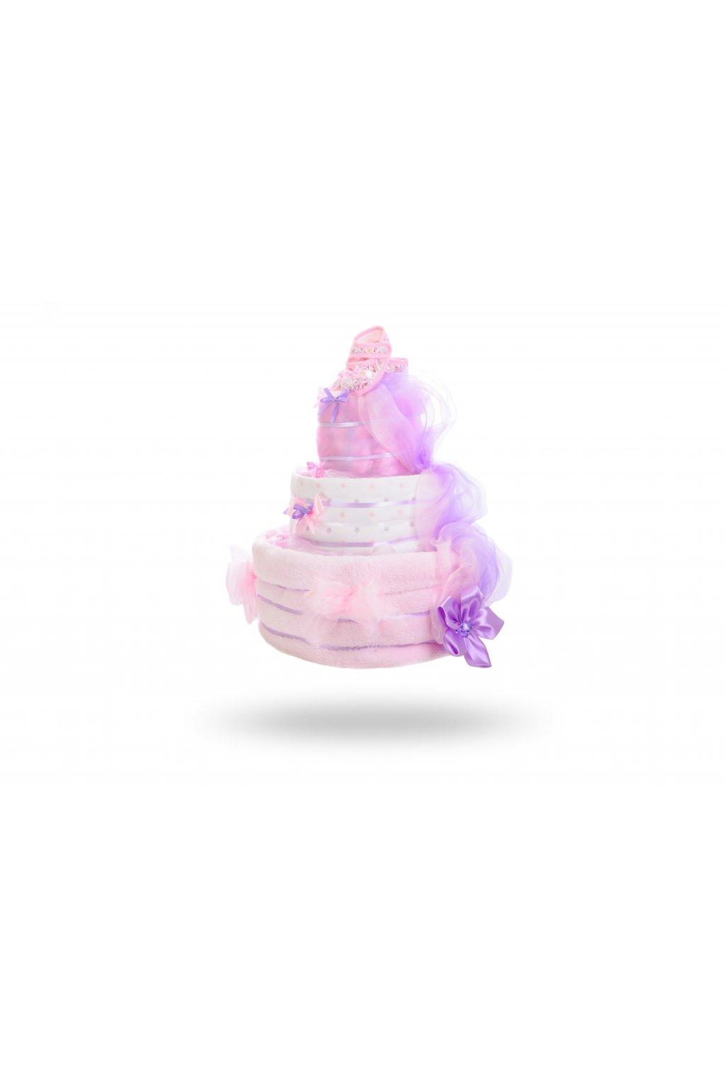 Třípatrový plenkový dort pro dívky – světle růžová1