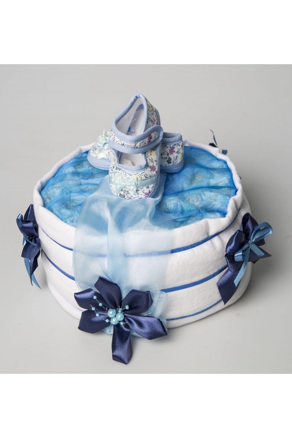 Jednopatrový plenkový dort pro chlapce – modrý special