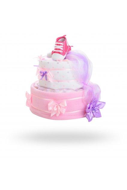 Dvoupatrový plenkový dort pro dívky – bílo růžový1