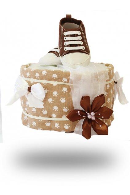 Jednopatrový plenkový dort pro chlapce čokoládový