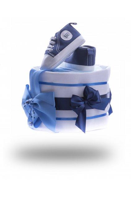 Jednopatrový plenkový dort mini modrý