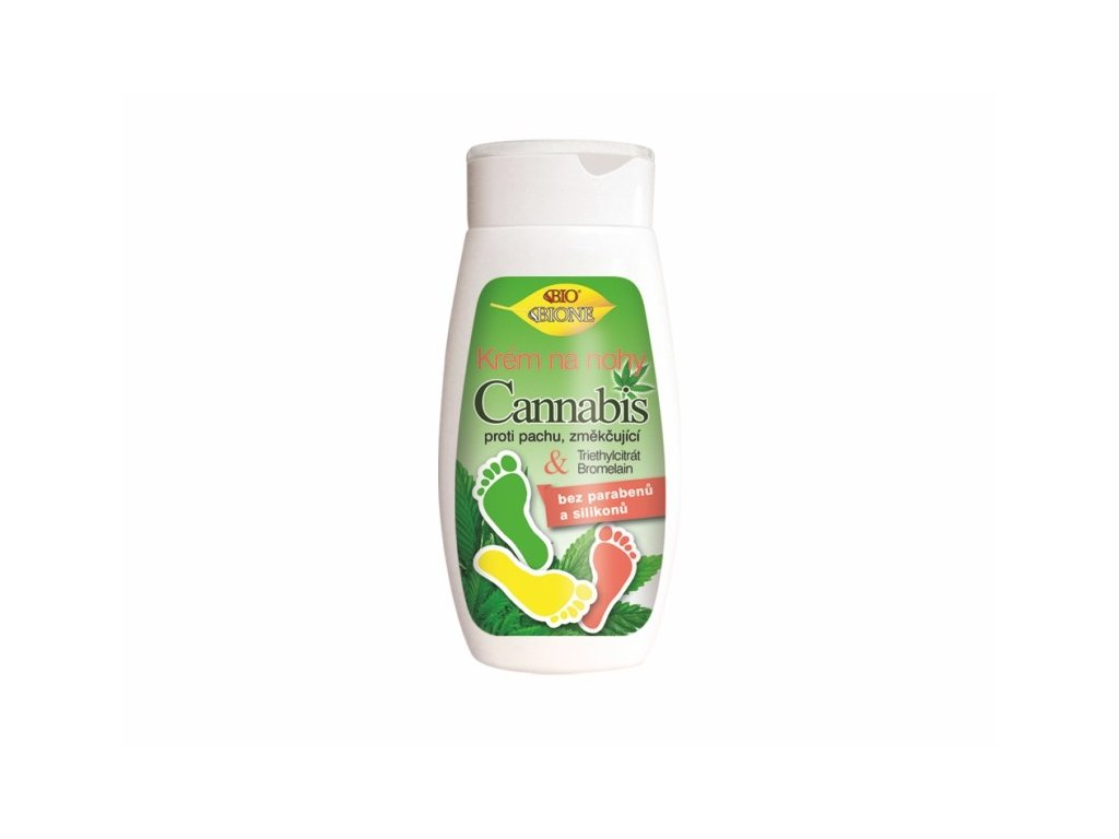 Bione Cosmetics s změkčující krém na nohy Cannabis s chlorhexidinem a bromelainem proti pachu 250 ml