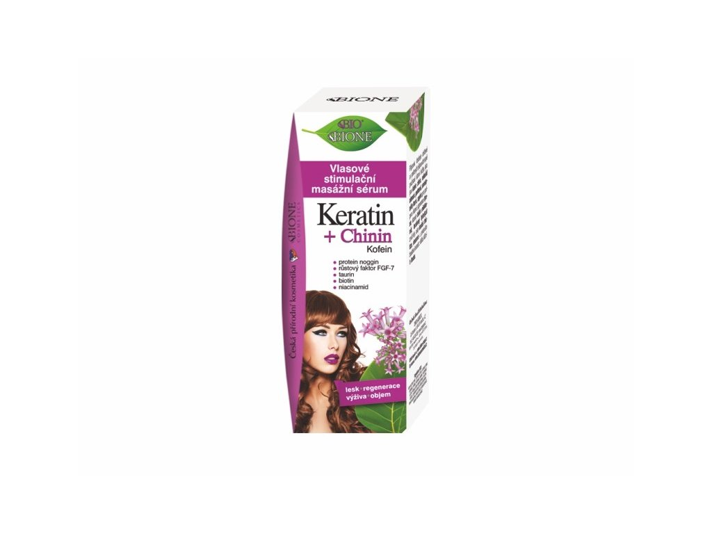 Bione Cosmetics s vlasové stimulační masážní sérum KERATIN + CHININ 215 ml