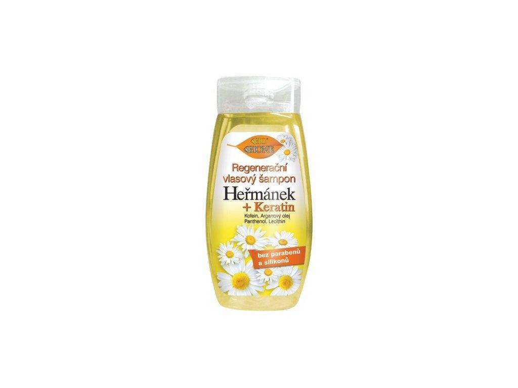 Bione Cosmetics s regenerační vlasový šampon Heřmánek + Keratin 260 ml