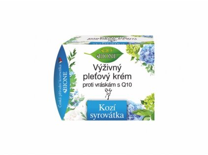 Bione Cosmetics  Kozí Syrovátka Výživný krém proti vráskám Q10 51 ml