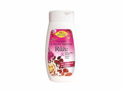 Bione Cosmetics  vlasový a tělový šampon Růže 260 ml