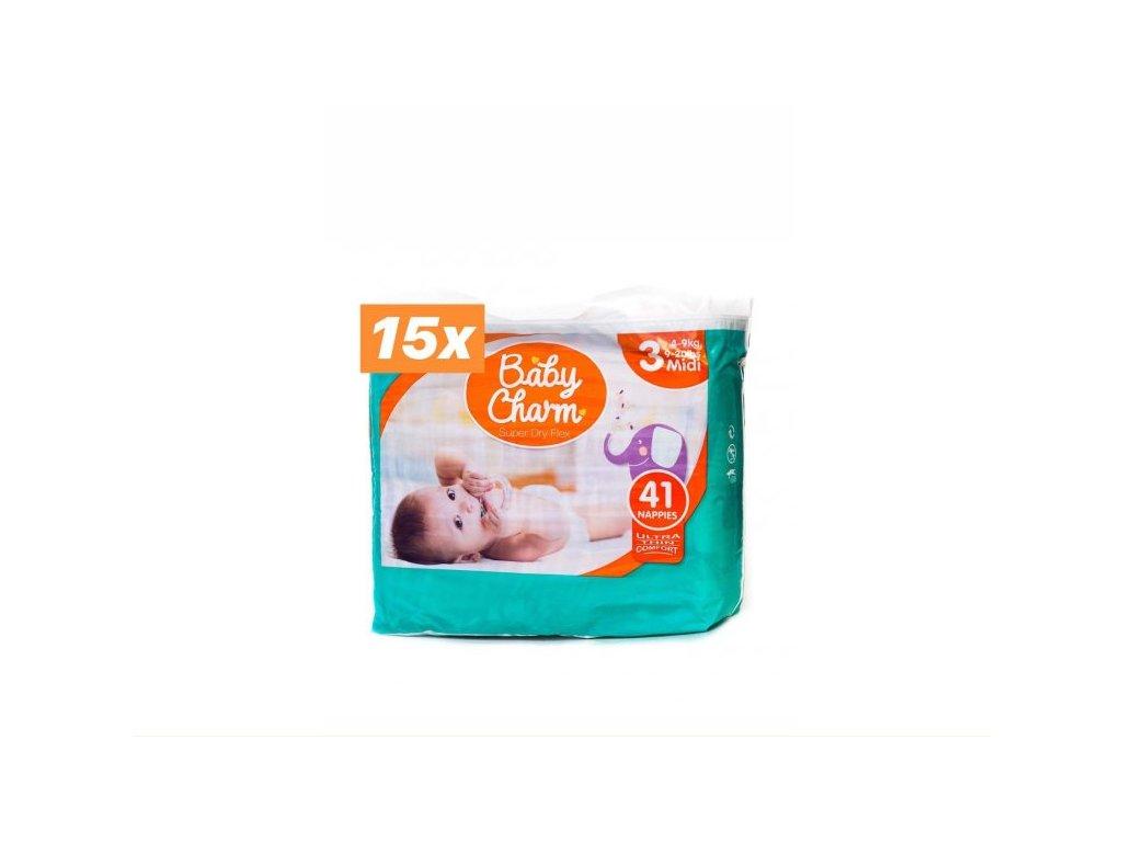 V rodinném balení je 15x balení Baby Charm velikost 3.
