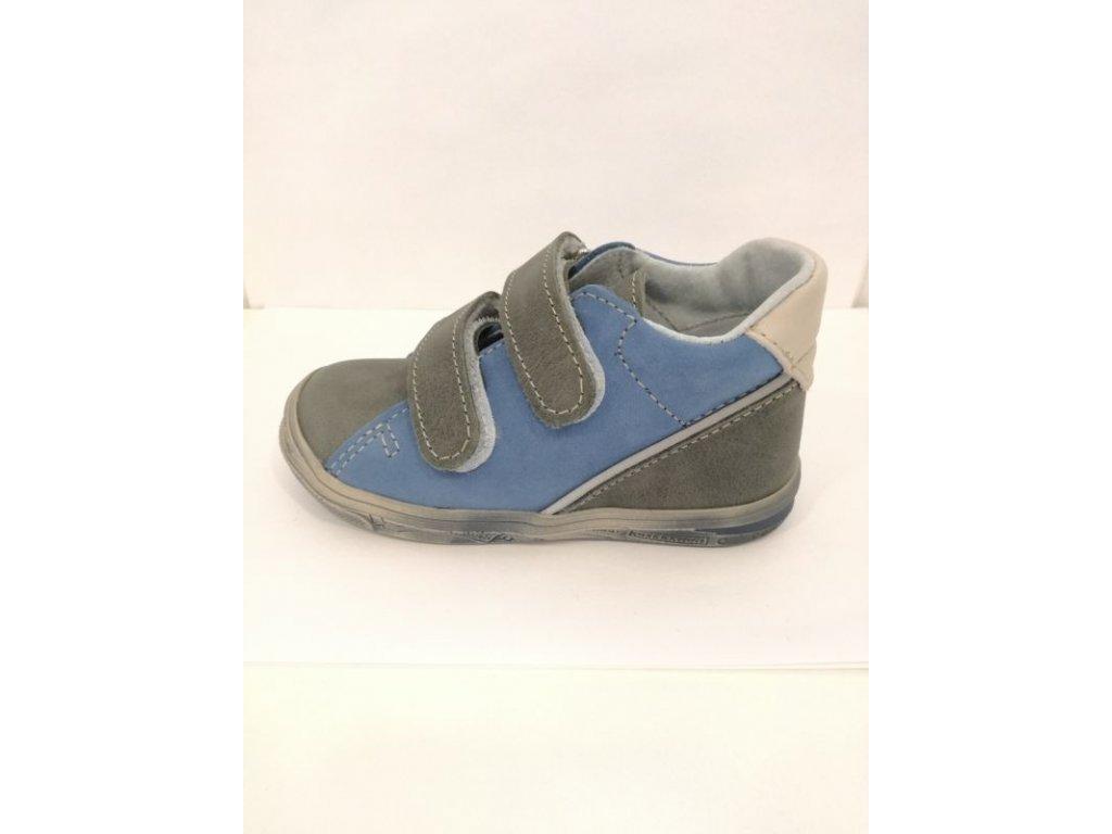 Jonap Celoroční kožená obuv 015 M šedomodrá (Velikost 23)