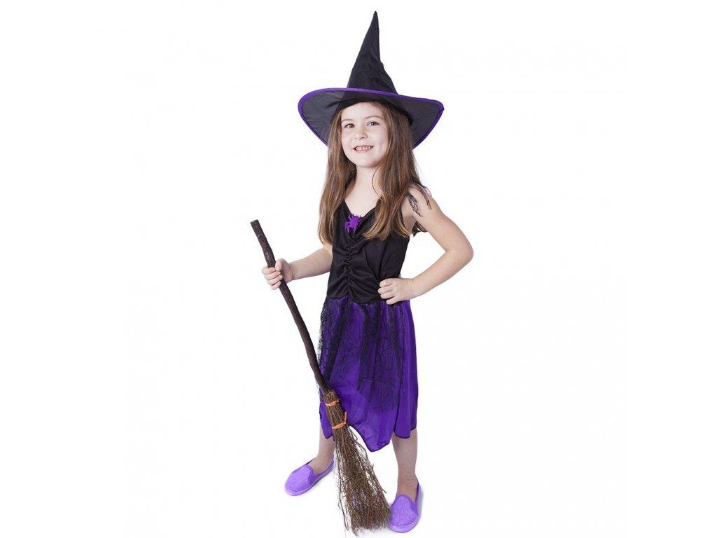 Dětský kostým fialový s kloboukem čarodějnice/Halloween (M)