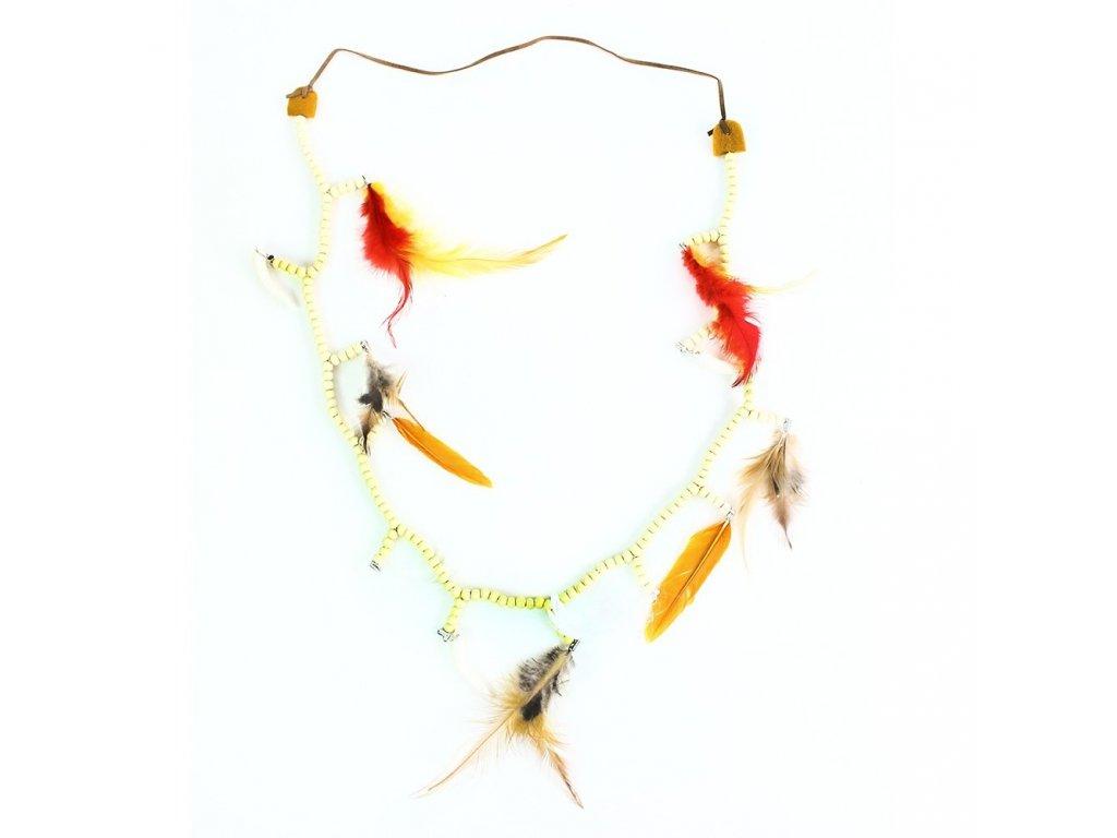 Indiánský náhrdelník s barevným peřím