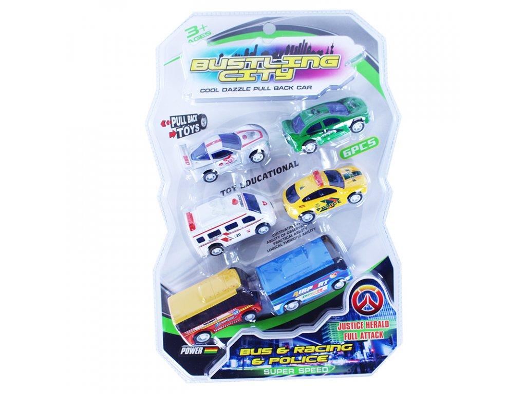 Sada auta a autobusy na natažení 6 ks - 2 druhy