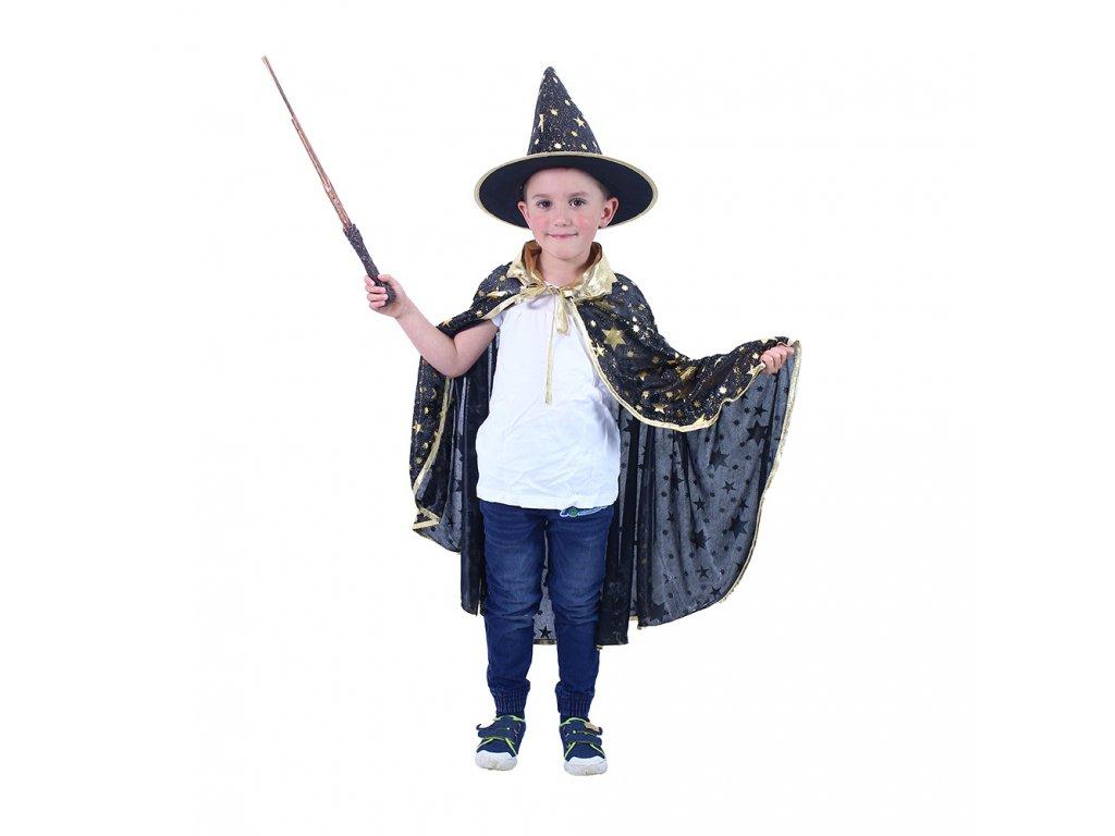 Dětský plášť černý s kloboukem čarodějnice/Halloween