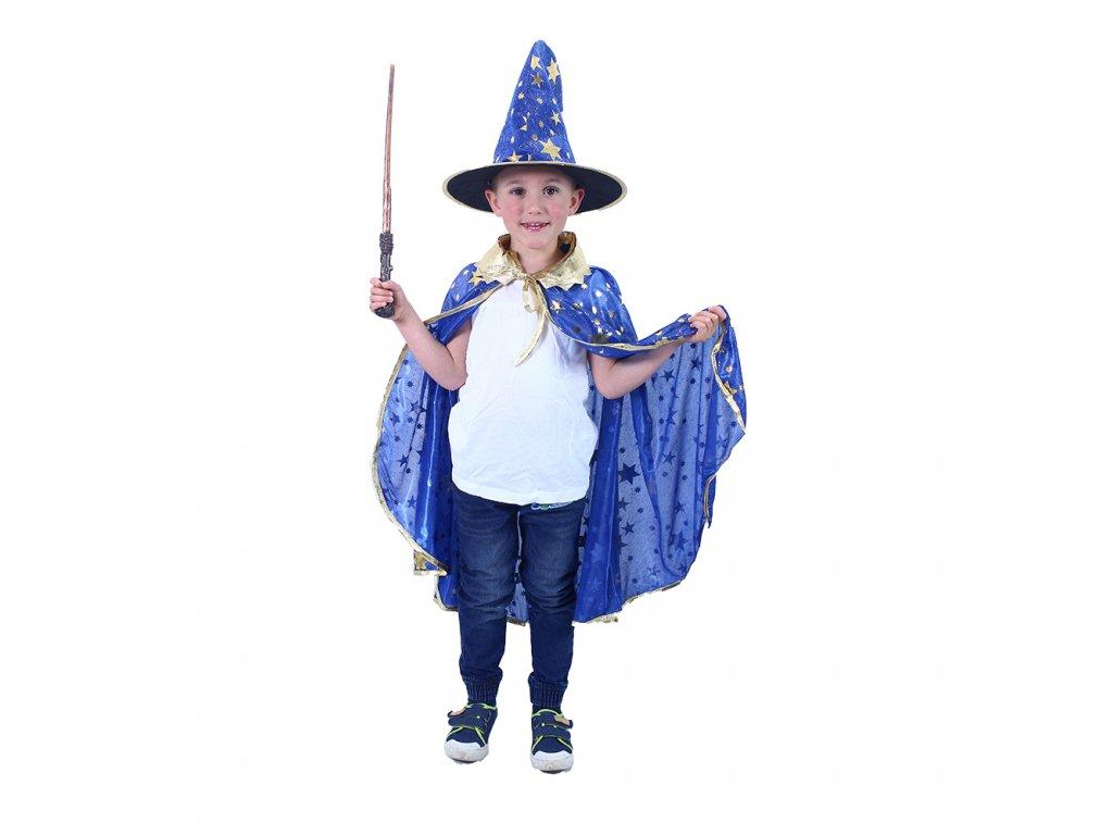 Dětský plášť modrý s kloboukem čarodějnice/Halloween
