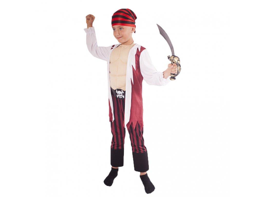 Dětský kostým pirát s šátkem a vycpanou hrudí (M)