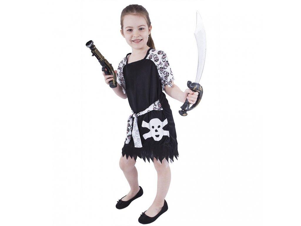 Dětský kostým pirátka s lebkou (S