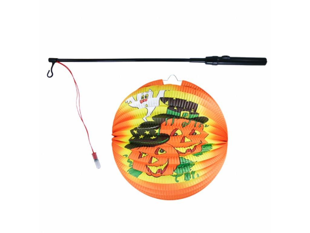 Lampion Halloween kulatý - veselé dýně 25 cm