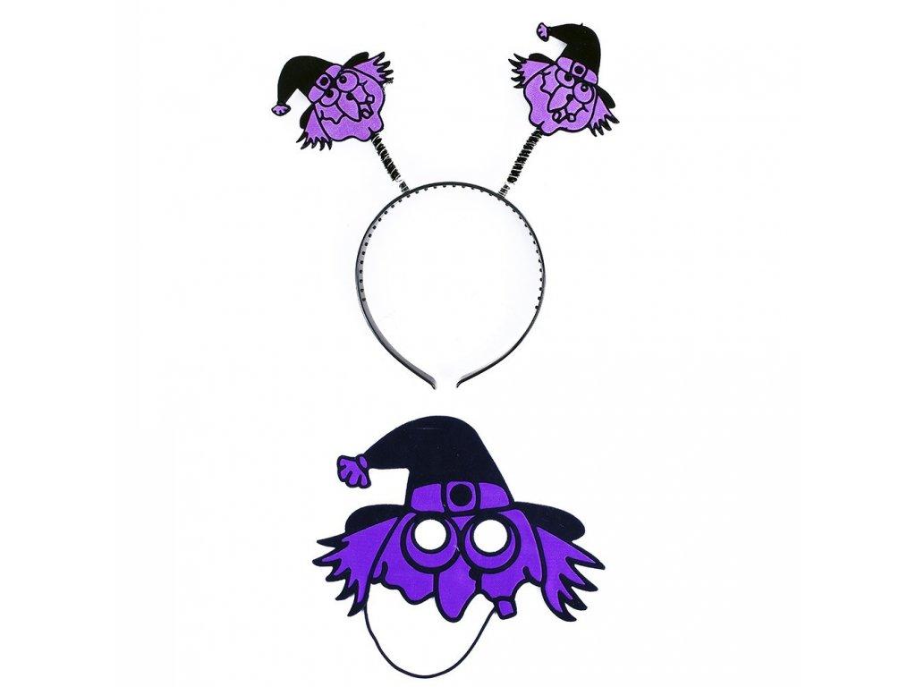 Čelenka s maskou čarodějnice pro dospělé