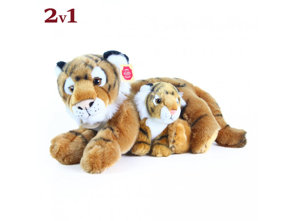 Plyšový tygr ležící s mládětem 37 cm